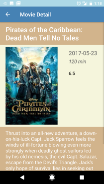 When a movie poster thumbnail is selected, the movie details screen is launched.